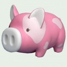 Hot Pink Piggy Bank Pink Spots 7 inch -