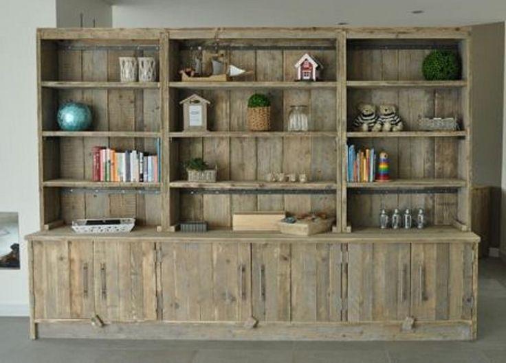 Boekenkast 300cm breed van gebruikt steigerhout (22131457) | Boekenkasten van steigerhout | JORG`S Houten Meubelen