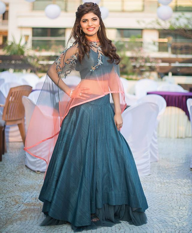Sheer ombre cape with a blue raw silk lehenga - Absolute perfection! Photo…