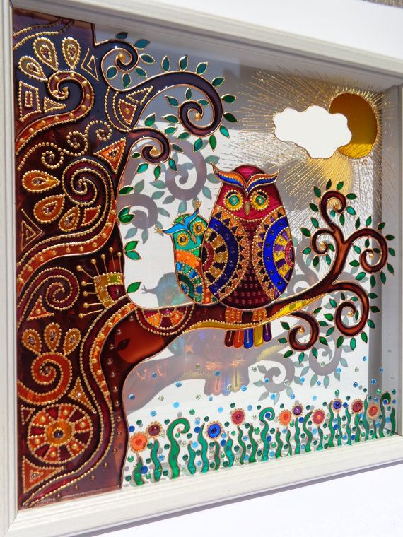 Owl Amp Baby Art 10 Quot X10 Quot Glass Painting Wall Decor Painted