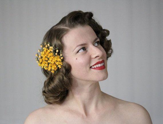 Orange Hair Clip Saffron Flower Hair Accessory by ChatterBlossom