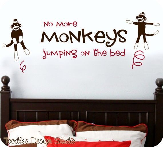 """Sock Monkeys """"Jumping On The Bed"""" Wall Decal"""