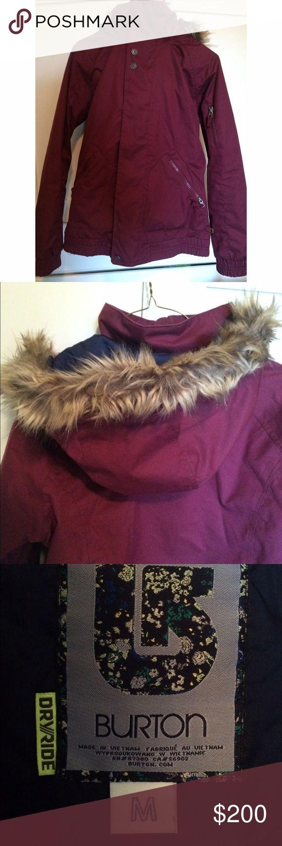 Women's burton ski jacket Maroon, women's ski jacket with detachable fur hood. Perfect condition Burton Jackets & Coats