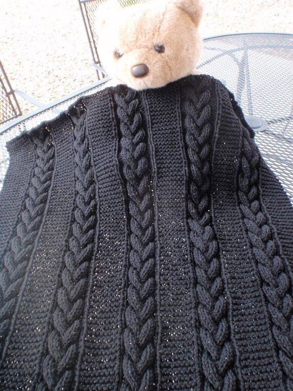 Knitted baby blanket ,with cables,  in high fashion black for a boy or girl
