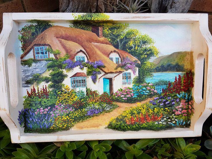 Seaside cottage on tray, Acrylic