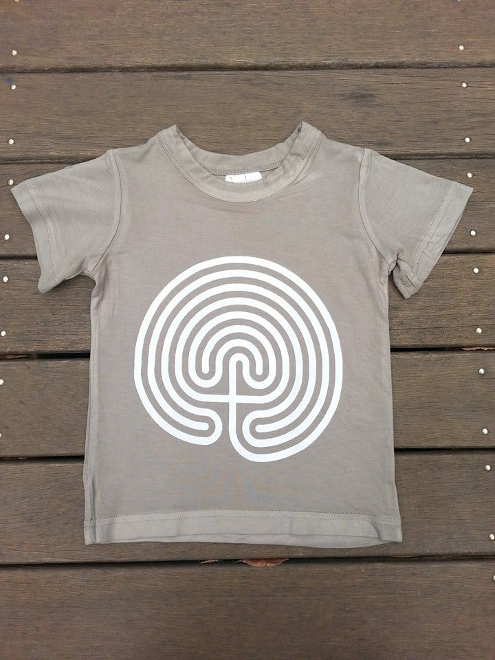 Herb Kids Tee with White Labyrinth Symbol. Organic Cotton/Bamboo. Fair Trade.