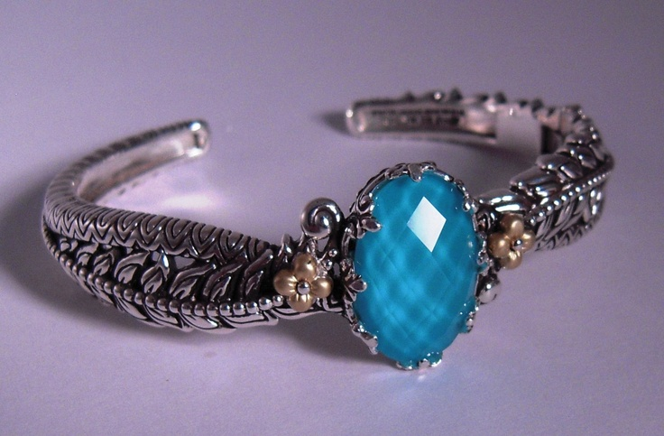 Barbara Bixby Turquoise Doublet Vine Bangle ss/18k