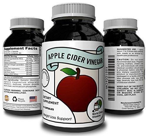 Apple Cider Vinegar Supplement - Pure Detox & Weight Loss Pills - Supports Digestion - Suppress Appetite & Boost Metabolism - Natural Apple Cider Vinegar for Men & Women - By World Class Vitamins