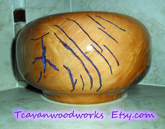 purple bowl, tcavanwoodworks, woodturnings, electric purple resin inlay, contemporary home decor