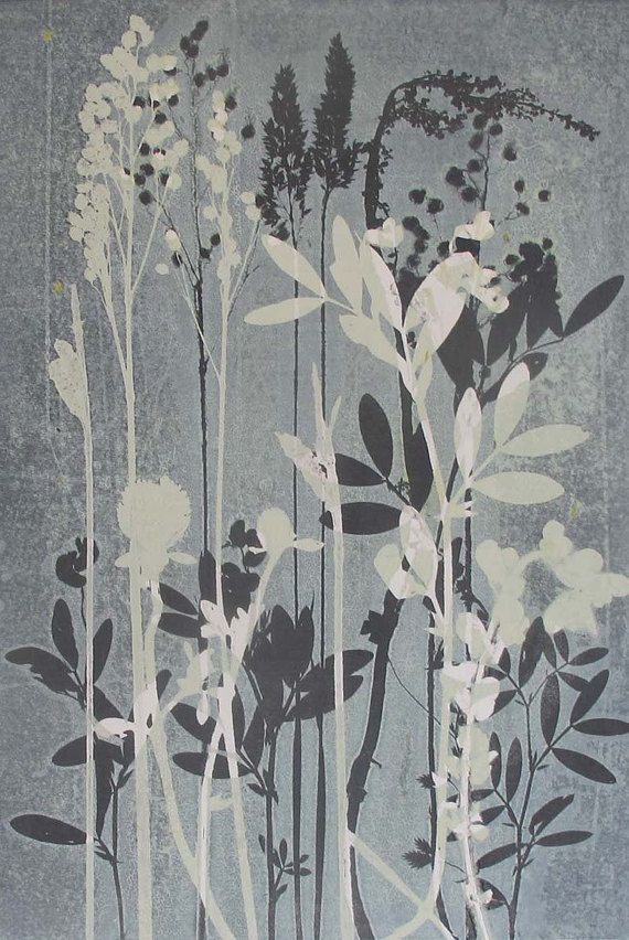 Ltd Ed Giclee Botanical Floral Meadow Print  A4 Self-Representing Artist Blue
