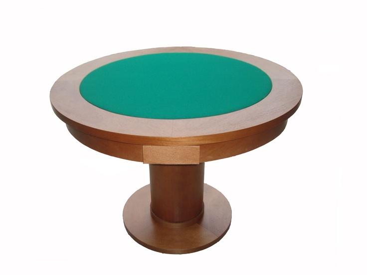 Mesa de carteado redonda com gavetas, disponível somente para jogos clássicos.