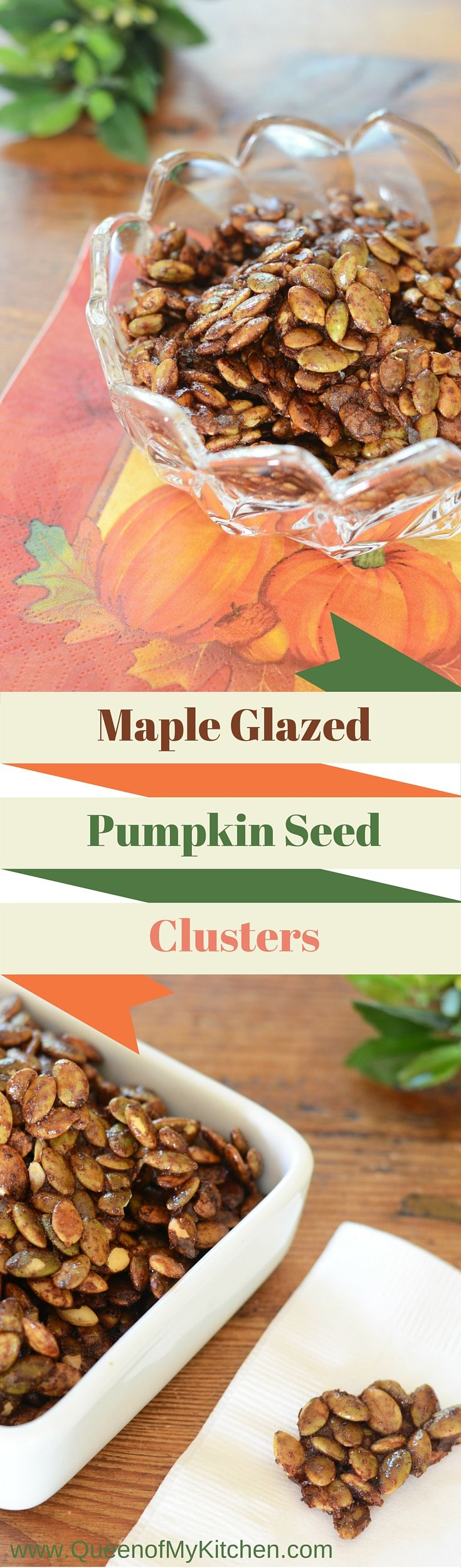 Maple Glazed Pumpkin Seed Clusters – pumpkin seeds roasted in coconut oil, coated with fall scented spices, and glazed with maple syrup.  These delicious little clusters are the perfect healthy snack.  Great in salads and yogurt, and as a garnish for soup and desserts.