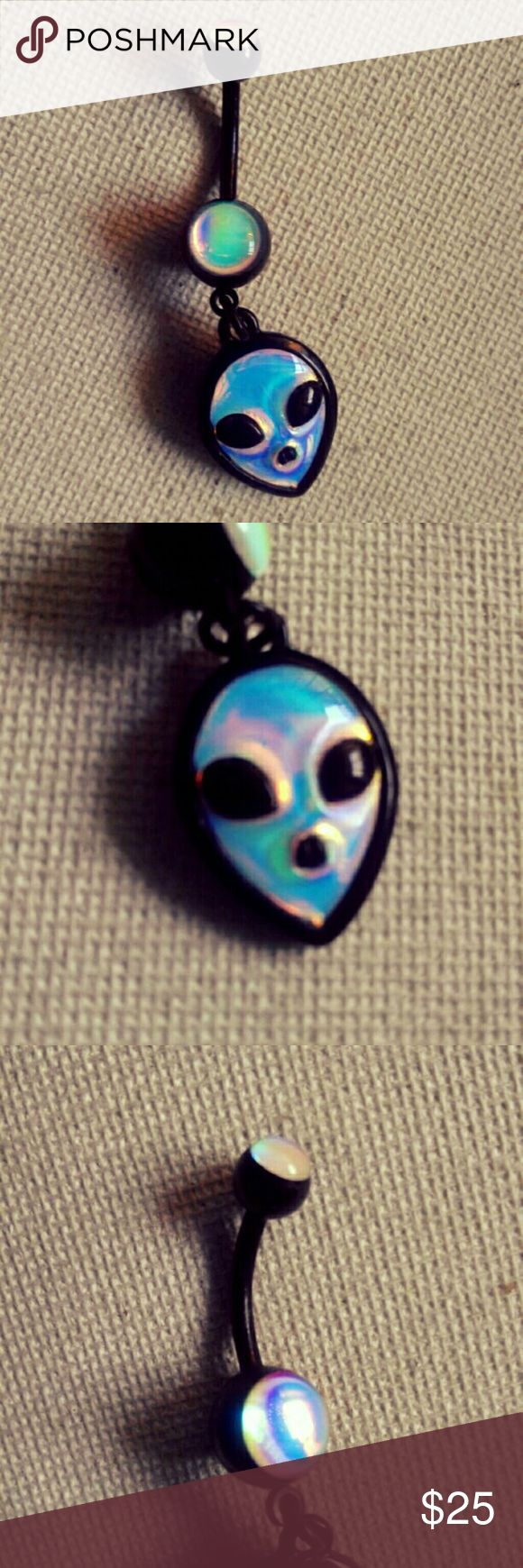 Black Holographic Alien Belly Ring 14g Black Holographic Alien Belly Ring 14g Brand New Surgical Steel/Titanium Plated Jewelry