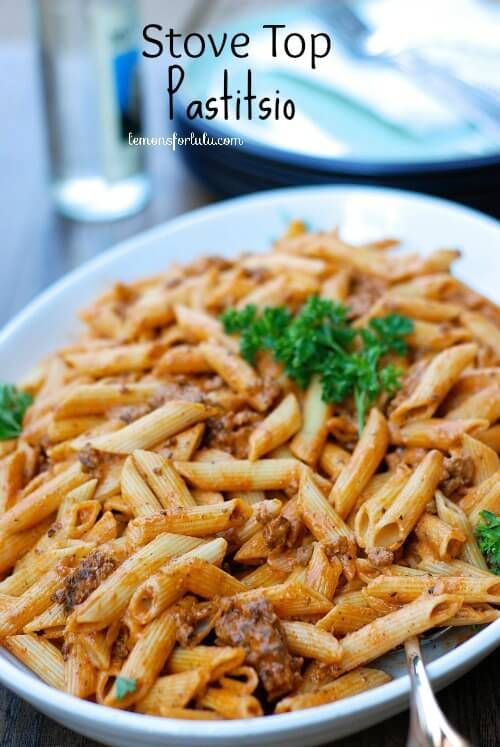 1 pound lean ground sirloin ¼ cup diced onion   2 cloves garlic minced 4 tablespoons tomato paste ½ teaspoon ground nutmeg 1 teaspoon McCormick Greek seasoning Salt, pepper ½ cup heavy cream ¼ cup plain Greek yogurt such as Chobani 1 lb penne pasta ¼ cup grated Parmesan cheese