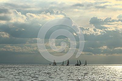 Group of dinghies at the Neva Bay on a cloudy evening. Saint-Petersburg, Russia