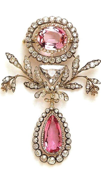 Brazilian pink topazes from around 1804 belonging to the royal family of Sweden. Beautiful!!!!