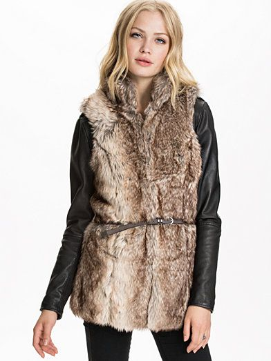 Bilbao Long Fur Waistcoat - Only - Silver Mink - Kurtki - Odziez - Kobieta - Nelly.com
