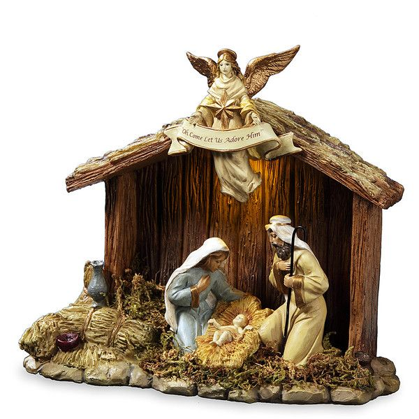 The San Francisco Music Box Company Nativity Stable & Family Figurine ($29) ❤ liked on Polyvore featuring home, home decor, holiday decorations, holiday home decor, holiday decor, nativity scene figurines, nativity figurines and holiday figurines