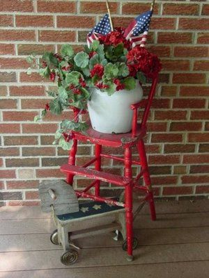 So cute!  Be still my heart!  Good thing I didn't throw away the old highchair in storage! This will be on my porch this summer!