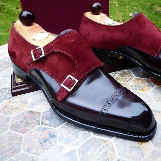 Handmade Men Black and Maroon Monk Shoes, Men Formal Leather Shoes, Men Shoes - Dress/Formal #MensFashionFormal