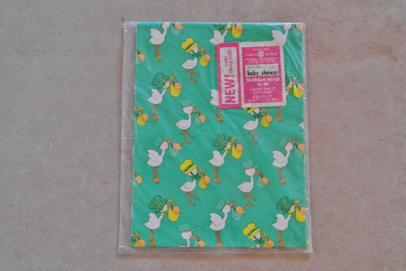 Listed 9/24: Vintage American Greetings Baby Shower Wrapping Paper