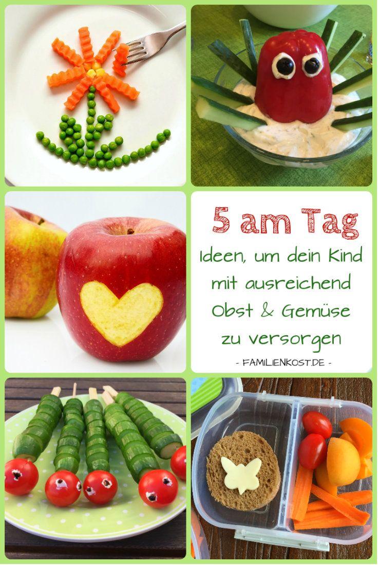 5 am Tag: ich zeige euch leckere Kinderrezepte und Ideen mit Obst und Gemüse. Ob als Rohkost in der Brotdose, zum Kindergeburtstag oder als Beilage zur Hauptmahlzeit - Vitamine sind täglich wichtig für unsere Kinder und auch uns Erwachsene: http://www.familienkost.de/artikel_5_am_tag_obst_gemuese_fuer_kinder.html