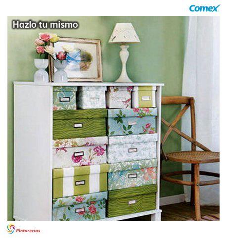 Crea un mueble #vintage para mamá usando diferentes cajas de #colores #HazloTuMismo