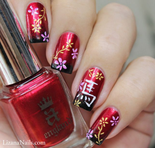 Nail Art Chinese New Year 2014 by Lizananails.deviantart.com on @deviantART