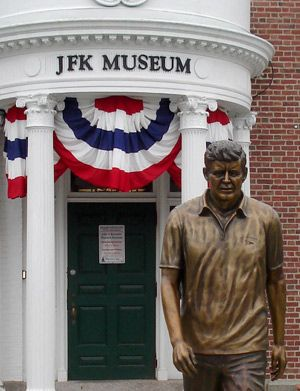 Statue of President John F. Kennedy outside the JFK Hyannis Museum. Visitor information to barnsatable & Hyannis, Cape Cod.