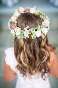 floral wreath for little girl's hair | Style Me Pretty