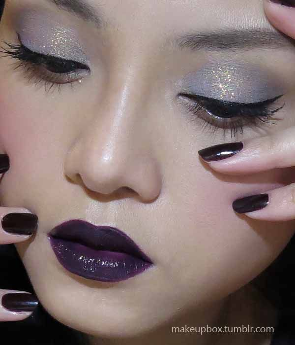 The Makeup Box: New Pulp Fiction: Dark Lips and Nails, with soft Glittery Lids