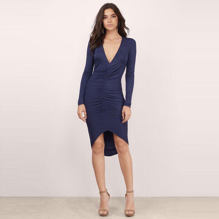 Blue V Neck Fashion Women Clothing Sexy Street Pleated Casual Bodycon Dress Elegant High Low Slim Midi Dress