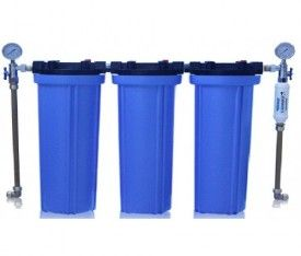 """Purity Series 5 Whole House 20"""" x 4.5"""" Triple Water Filter System with Anti - Scalent"""