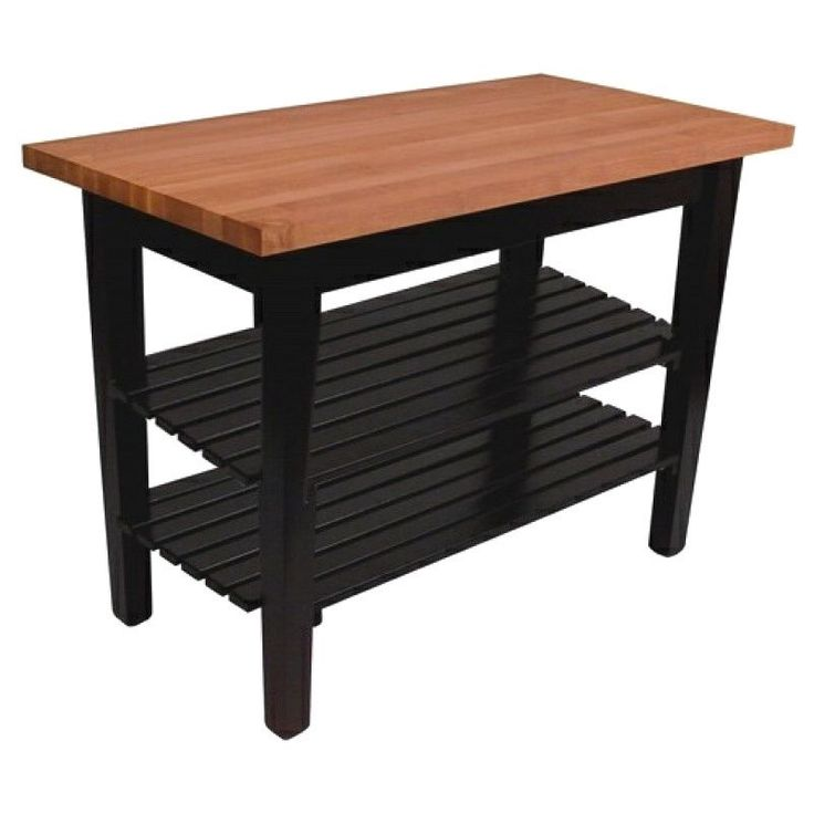 John Boos 36x24 Cherry RN-C3624C-2S Butcher Block Table With Casters and 2 Shelves & 13-piece Henckels Knife Set