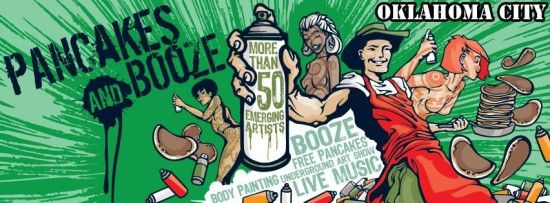 """pancakes and booze art show okc   via The Lost Ogle """"Friday Night in the Big Town"""""""