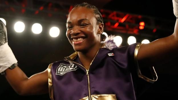 Olympic champion Claressa Shields wins by knockout in the first women's boxing match to headline a premium TV event in the US.