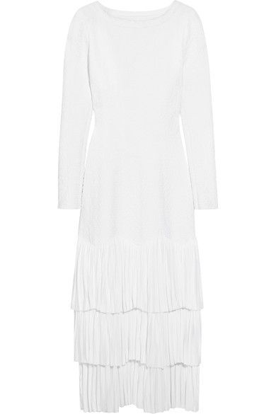 Azzedine Alaïa designs each and every piece in his collections - and has done since the early '80s. Part of the Spring '17 lineup, this elegant midi dress is cut from white jacquard-knit that beautifully hugs and defines the body without feeling restrictive. It's finished with three artfully pleated tiers for the perfect amount of volume and movement.