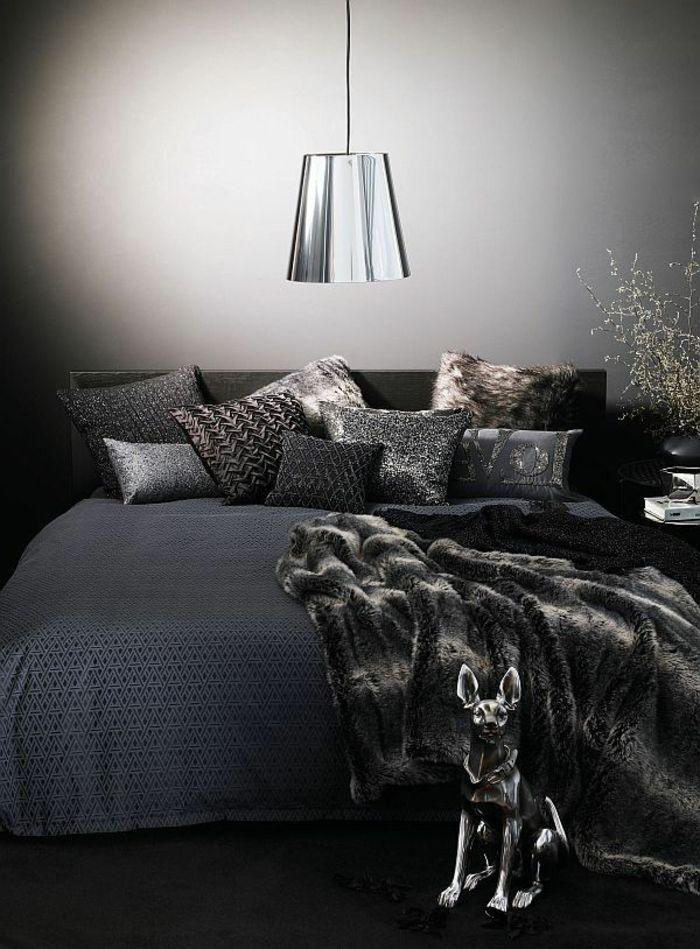 Joli plaid en fourrure gris noir pour le lit dans la chambre a coucher with chambre a coucher - Chambre a coucher en noir et blanc ...