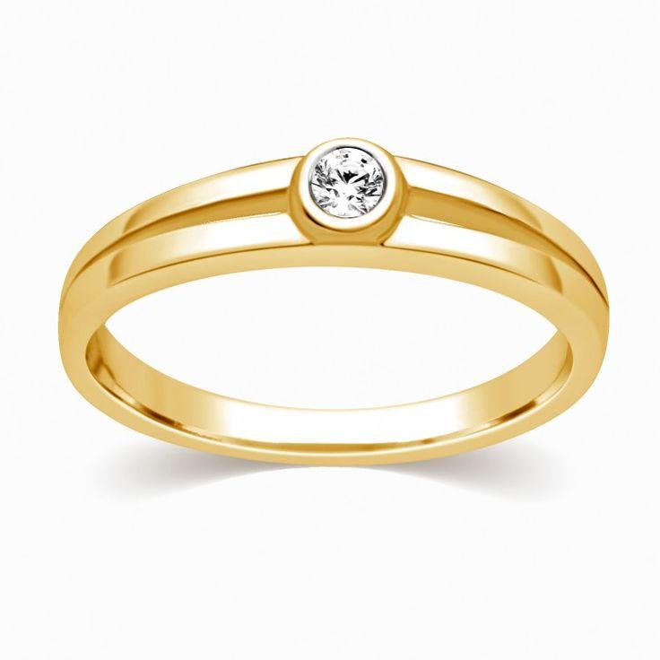 ERMA DIAMOND RING Bezel set diamond ring in 18 KT yellow gold, 0.07 total diamond weight