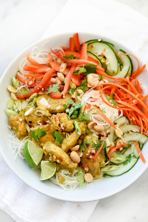 Vietnamese Curry Chicken and Rice Noodle Salad Bowl | foodiecrush.com