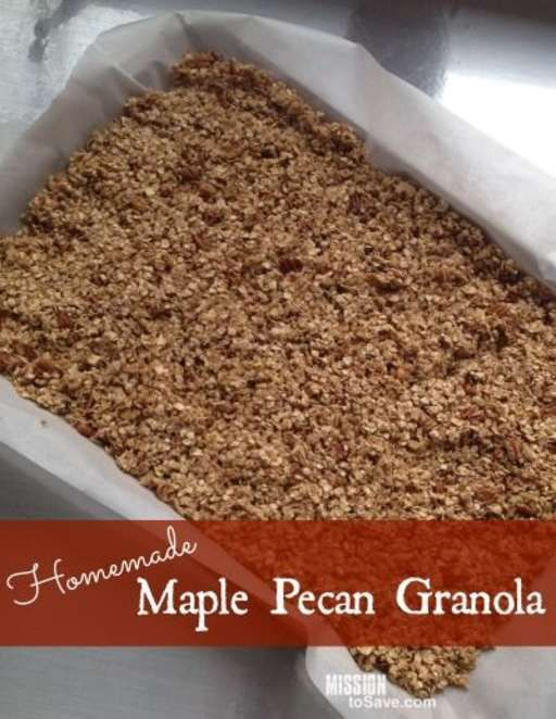Awesome Homemade Maple Pecan Granola Recipe. This is perfect for topping yogurt. And is a great mason jar gift too!
