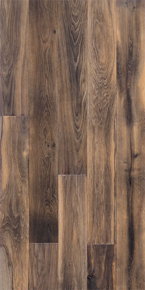 Bog oak engineered floorboards. Oak grade: Random grades (Natura, Rustic, Robust). Texture: Hard Brushed, with knots Prefinished: TimeShift patterned finish (heated), Matt lacquer (water based).