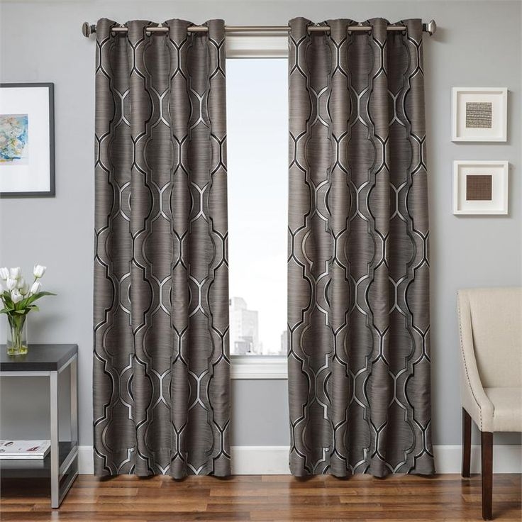 Tryst Curtain Panels In Gunmetal Grey Grommets Back