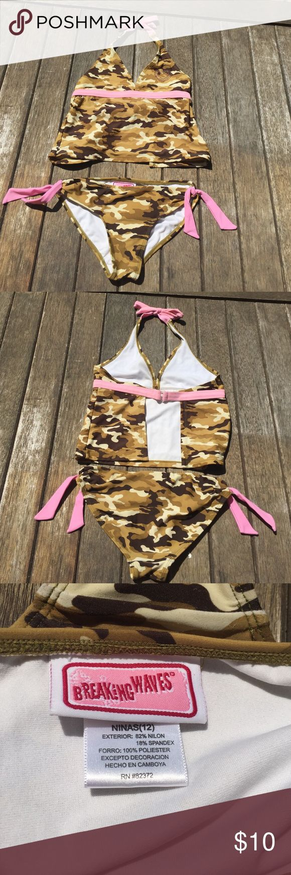 🌴Camo & pink tankini.🌴 Includes two pink ties on the side but can be taken off. Open in the back. Size: Girls 12. Actually from Breaking waves. Listed under Justice for views! Justice Swim Bikinis