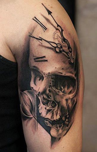 This is an awesome 3D tattoo, the clocks hands appear to float high above the timepiece to serve to remind us that TIME is the most precious commodity that exists !!! There are no dress rehearsals in life, it's all done live !! But as time passes we realise our mortality is approaching, then once our 'allotted time ' is used up, all that remains ultimately is a skull ☑️