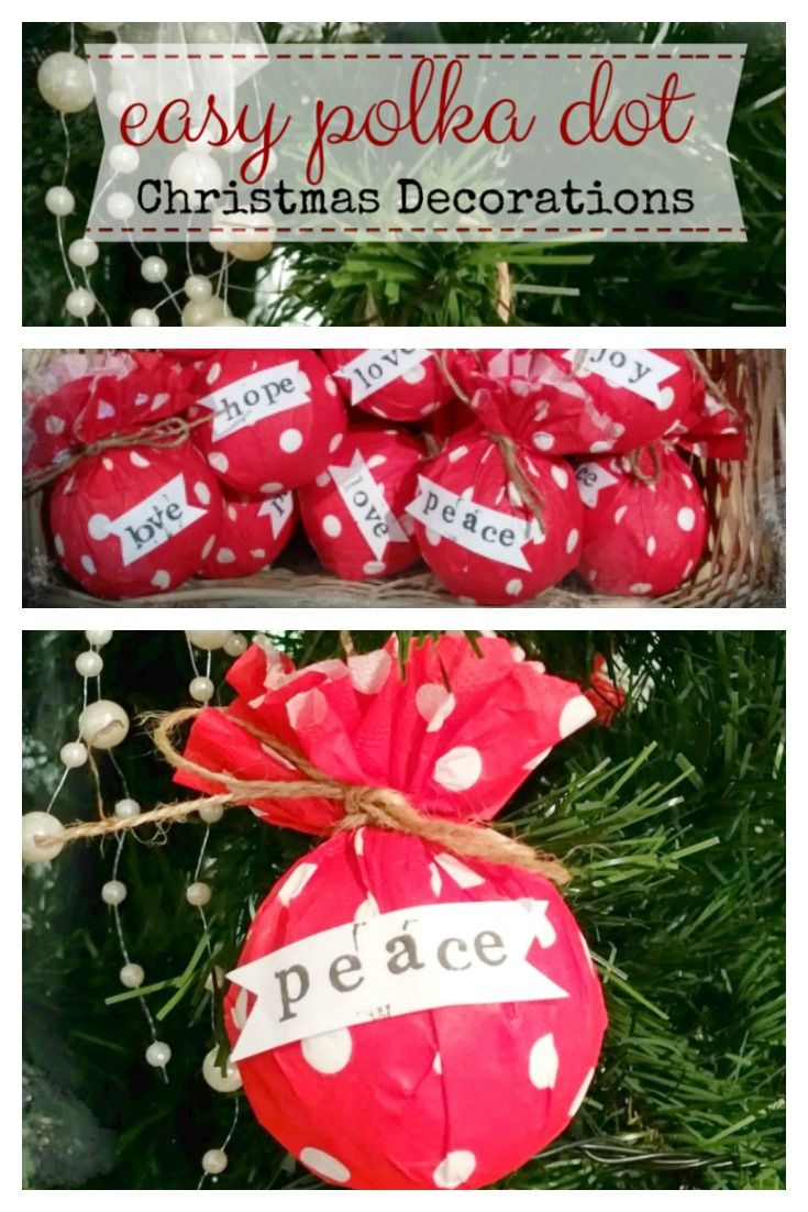 Super Easy Polka Dot Christmas Decorations using paper serviettes. See how with a full tutorial | www.raggedy-bits.com