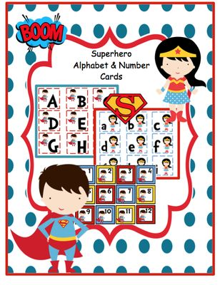 Superhero Alphabet & Number Cards from Fun Printables for Preschoolers on TeachersNotebook.com - (13 pages) - This printable contains alphabet & number flash cards.