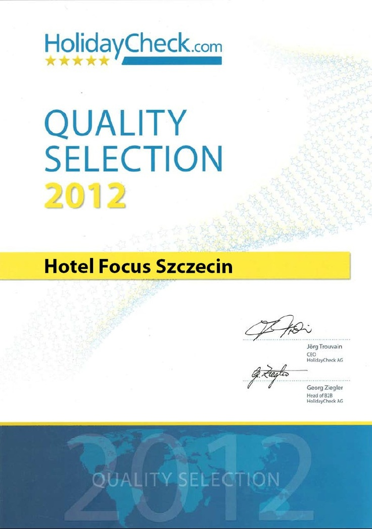 """Nasz szczeciński hotel otrzymał certyfikat """"HolidayCheck Quality Selection 2012"""" przyznawany przez popularny portal holidaycheck.com! I to dzięki Wam - naszym gościom, dziękujemy! :)    szczegóły, na naszej stronie: http://www.hotelfocus.com.pl/hotel-szczecin-z-holidaycheck-quality-selection-2012/"""