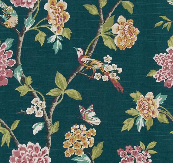 Dark Teal Bird Upholstery Fabric - Modern Teal Pink Curtains with Birds - Pink Green Floral Roman Shade - Dark Teal Pillows with Birds