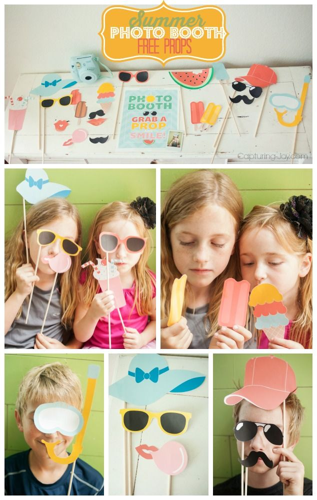 Summer Photo Booth Ideas on Capturing-Joy.com!  Free printables to help celebrate any summer gathering!